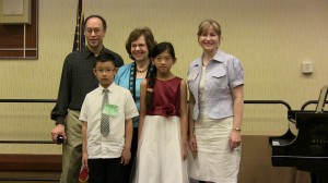 Front: Students Dylan Ye, & Athena Wang Back: Dr. Eric Hicks, Nancy Bachus, Ms. Irina Chernysheva-Hicks